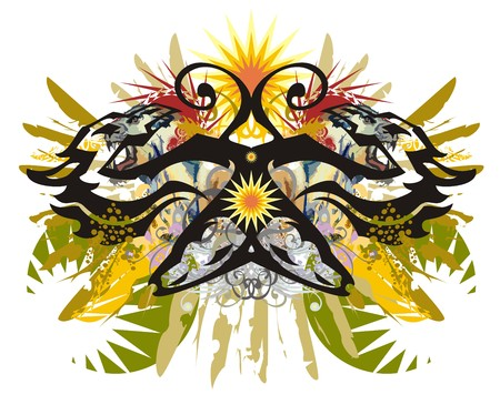 African motives ethnic butterfly splashes. Unusual abstract butterfly created by the heads of dragons and the heads of horses with colorful floral elements, eagle feathers, the decorative sun Иллюстрация