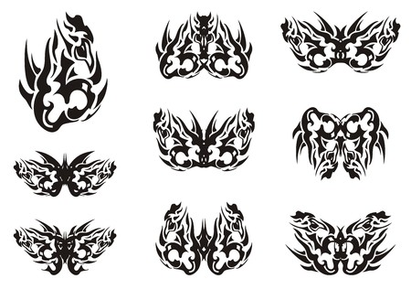 Black and white tribal butterfly wings tattoos. Unusual patterns in wings of decorative flaming butterflies. Ethnic butterflies for your design