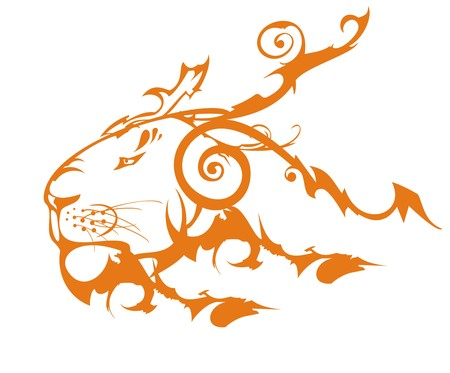 Decorative old lion head symbol. Lion's Tribal Orange Head Created by the Twirled Ornate Elements