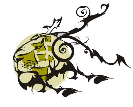 Ornate old lion head with a circle. Background for your design Illustration
