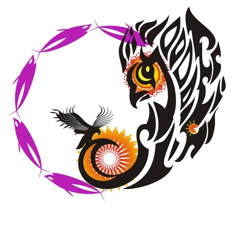 Abstract bird symbol with a circle. Baby bird of flaming eagle with decorative elements Иллюстрация