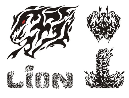 Aggressive lion head symbols and lion text. Tribal growling lion head, letter L Black and white Иллюстрация