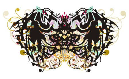 Awful tribal butterfly with colorful floral splashes. Grunge ethnic butterfly on a white backdrop