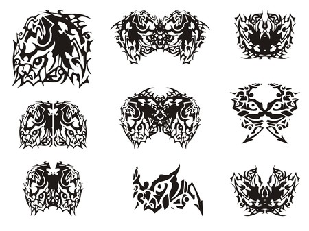 Monster horse symbol and butterflies created from it. Flaming abstract black and white tones for your design