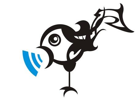 Music bird icon. Sound, vector. Music bird on white background.