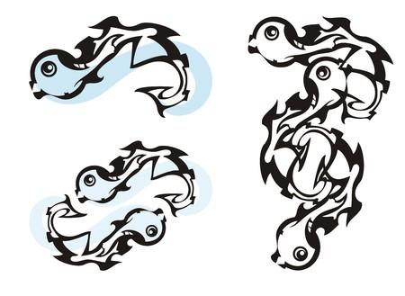 Unusual fish symbols. Freakish dangerous twirled symbols Иллюстрация