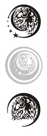 Tribal horse symbols in a circle. Emblem for your design