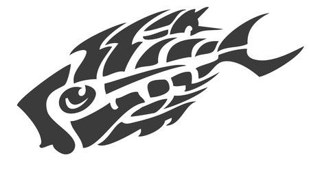 Skeleton fish symbol of the skeleton formed by tongues of flame