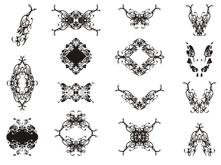 Decorative floral elements in vintage style. Abstract flourish vector elements, butterfly and frames collection Иллюстрация