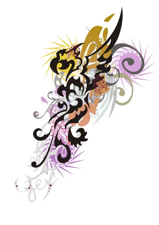 Abstract splattered colorful eagle symbol. Floral eagle splashes in grunge style isolated on a white backdrop.