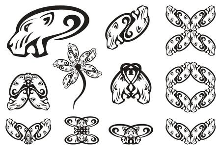 Aggressive tribal lioness head symbols. The head of a lioness. Black on white