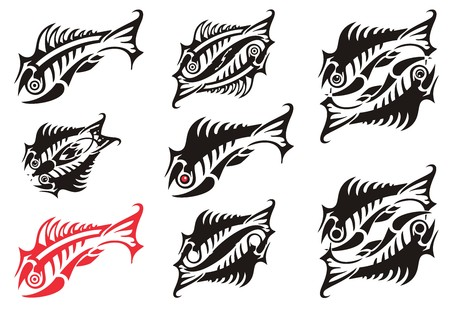 Abstract peaked skeleton fish symbols. Fishes for your designs or business projects