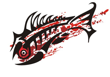 Awful splattered bloody fish symbol. Abstract grunge background for your design