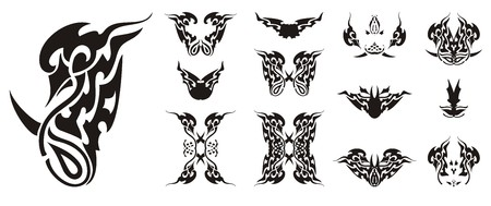 Ornate flaming bird symbol and butterflies wings. Abstract Twirled Tribal Buttons Иллюстрация