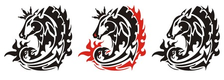 Tribal horse head and phoenix symbol with a crown. The king of phoenix. Three options for a tattoo, etc. Иллюстрация
