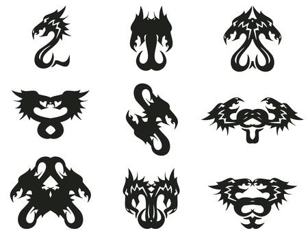 Aggressive tribal peaked dragon symbols. Hen Иллюстрация