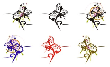 Abstract flowers set in rose shape. Tribal roses formed by your design. Options with color splashes Иллюстрация