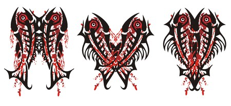Three awful splattered bloody symbols. Bloody scary fishes for your design. Black and red on white Иллюстрация