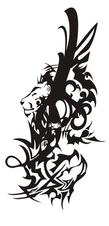 Tribal lion and dragon head symbol with feathers. Black and white eagle wing Иллюстрация