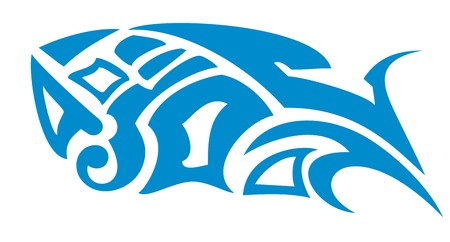 Vector blue fish symbol in tribal style. Fish as a decorative element for your design, for a tattoo, an emblem, etc.
