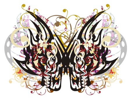 Grunge floral butterfly created by the wolf heads. Mystic colorful butterfly wings splashes formed on a white backdrop Иллюстрация