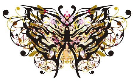 Floral butterfly wings with lions heads pattern inside. Grunge unusual butterfly with colorful splashes and golden feathers elements Иллюстрация