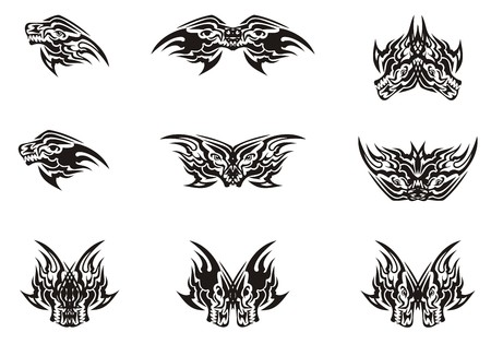 Aggressive wolf head and butterflies formed from it. A set of tribal symbols for your design Иллюстрация