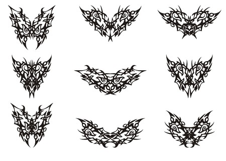 Peaked butterfly wings tattoos in tribal style. Flaming decorative butterflies set