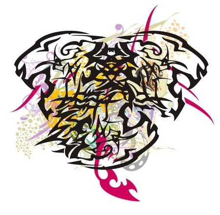 Three-headed tiger with colorful splashes. Splattered floral elements Иллюстрация