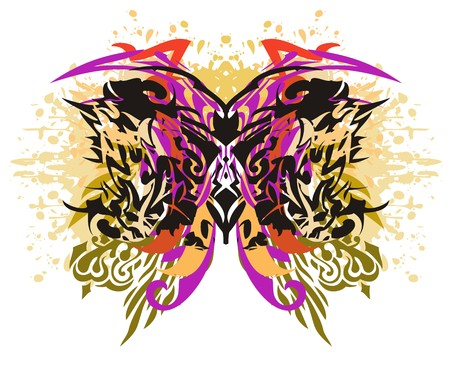 Grunge colorful splattered butterfly wings. Abstract of pattern on white.