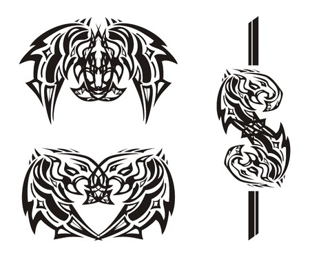 Tribal butterfly, heart and dollar sing. Peaked powerful flaming head for an eagle created by the flaminge for a tattoo, business, an embroidery, etc.