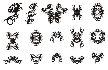 Tribal twirled dragon design elements. Abstract dragon for your design. Black on white