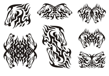 Flaming horse head design elements. For the tattoo, an embroidery, etc.
