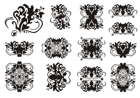 Ornate floral detailed design elements. Abstract vector set of flower elements for your design. Black on white