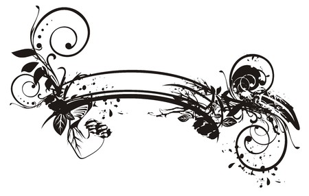 Vintage banner in black and white colors. Splattered floral retro curled ribbon for your design. Vector ornate template Иллюстрация