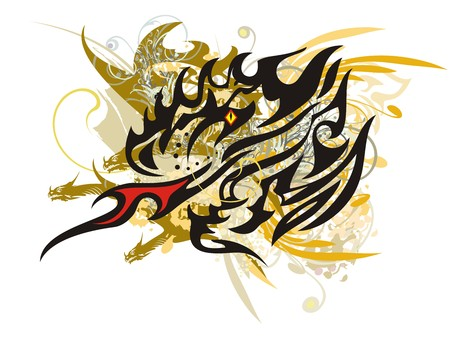 Colorful flaming dragon head splashes. Grunge abstract dragon head with golden and floral elements on a white background Иллюстрация