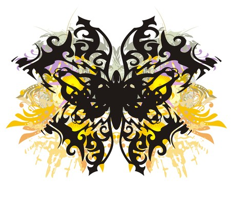 Colorful floral butterfly splashes. It is a floral pattern.