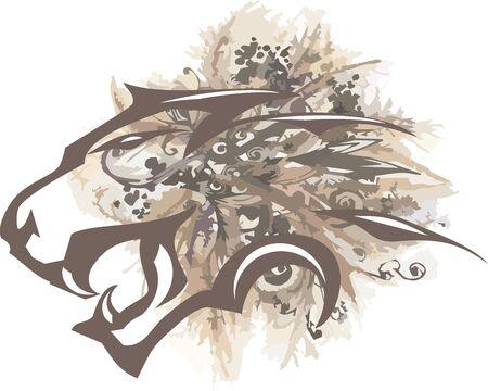 Aggressive pastel lion head symbol. Flower background for your design