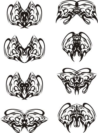 Butterfly wings created by the lions heads. Tribal aggressive lions heads - a pattern in wings of a tattoo, an embroidery, an engraving, etc. Иллюстрация
