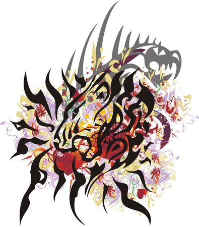 Grunge lion head splashes with red hearts. Roaring detailed floral heads and dragon head element