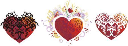 Red hearts symbols - three options. Grunge and tribal red hearts on a white background with decorative floral elements Иллюстрация