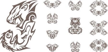 Aggressive tribal lion and fish symbols on a white background. Lions head