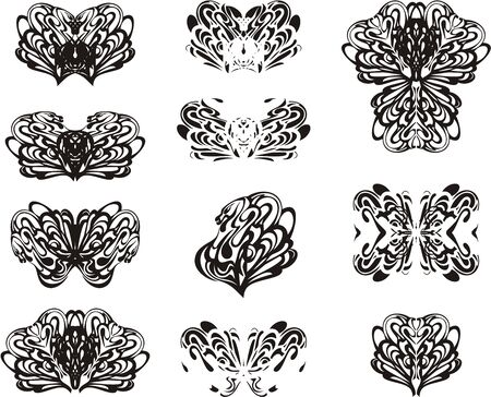 Ornate tribal twirled floral tattoo art elements. Abstract decorative snakes symbols twirled in the form of butterflies or floral elements for your design Иллюстрация