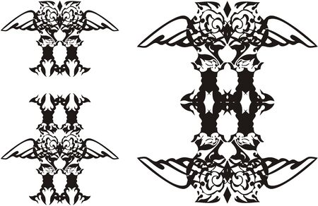 Tribal unusual owl tattoo symbols. Three owl options with open wings for your design. Black on white