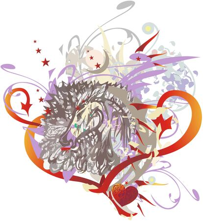 Horse head in the heart form colorful splashes. Abstract horse head with feathers, arrows and floral elements formed in the heart