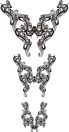 Three twirled ornate butterfly wings. Abstract decorative ethnic butterflies symbols for your design. Black on white