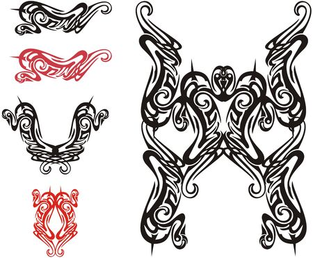 Tribal snake symbols and butterflies formed from it. Vector butterfly and snake set in black and red colors for your design