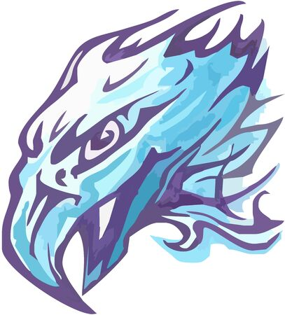 Eagle head symbol vector design in blue colors. Tribal unusual flaming head of an eagle with open beak for a tattoo, an embroidery, etc.