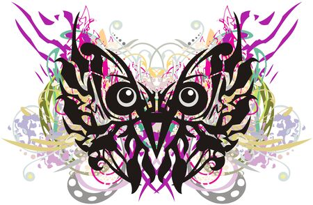 Colorful owl head symbol splashes. Grunge unusual abstract owl head in butterfly form with color floral elements
