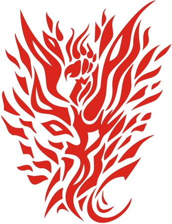 Phoenix flame isolated on a white background. Tongues of flame in the form of a Phoenix symbol for your design. Red on white